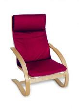 Кресло-качалка 1812K дуб светлый/бордовый