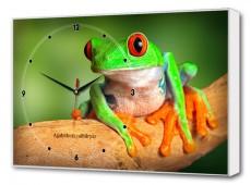 Настенные часы (60х37 см) Зеленая лягушка BL-2404