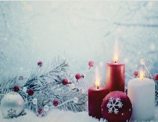 Панно световое (40х30 см) Свечи в снегу 26971