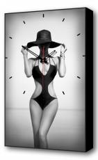Настенные часы (37х60 см) Женщина в шляпе BL-2302