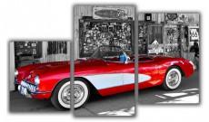 Набор из 3 панно (94х55 см) Красная машина XT-001