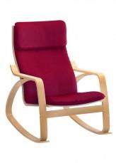 Кресло-качалка 1814K дуб светлый/бордовый