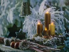 Панно световое (40х30 см) Золотые свечи 26972
