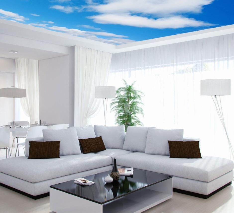 Белый интерьер с ярким потолком — самая модная тенденция дизайна интерьера 2018